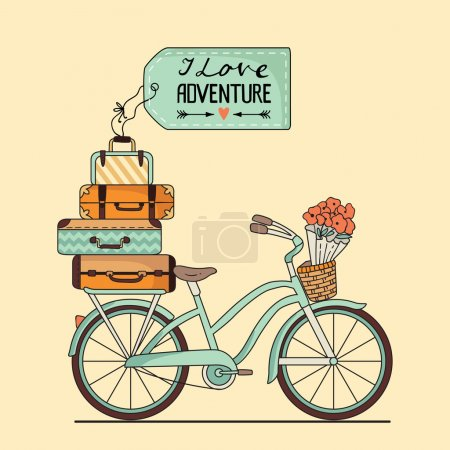 Illustration for Vector illustration. Retro bicycle with luggage and space for your text - Royalty Free Image