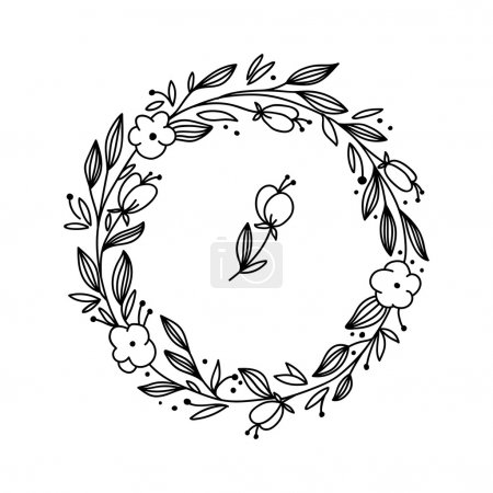 Illustration for Vector floral frame with branches and flowers. Hand drawn herbal wreath for card, wedding, greeting, print and other floral vintage design. - Royalty Free Image