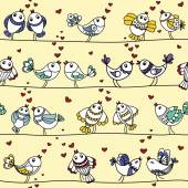 Romantic pattern with birds in love