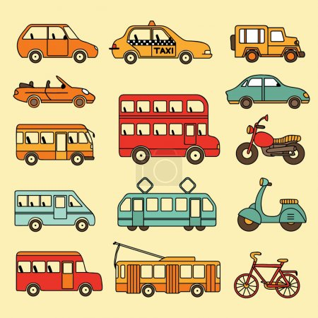 Illustration for Vector collection of cars and buses. Icon with transport - Royalty Free Image
