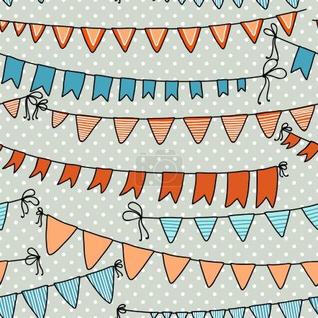 Ilustración de Patrón transparente de vector con coloridas banderas. Fondo de vacaciones - Imagen libre de derechos