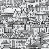 Pattern with houses and trees