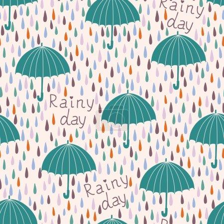 Raindrops and umbrellas.