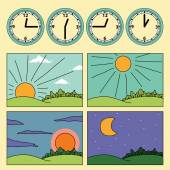 Icons with landscapes showing day cycle and clock showing the time of the day - morning noon afternoon evening