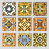 Set with Beautiful seamless ornamental tile backgrounds Vector illustration