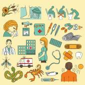 Emergency health care icons set