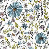 Seamless vintage pattern with camomile and flowers