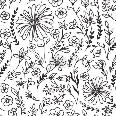 Illustration for Seamless vintage pattern with camomile and flowers. Can be used for desktop wallpaper or frame for a wall hanging or poster,for pattern fills, surface textures, web page backgrounds, textile and more. - Royalty Free Image
