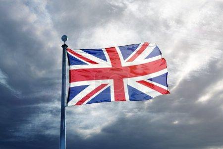 Flag of United-Kingdom on flagpole