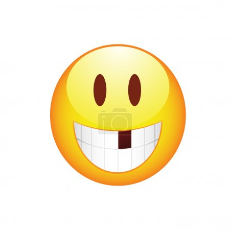 Smiley Smile without tooth and rosy cheeks. Vector...