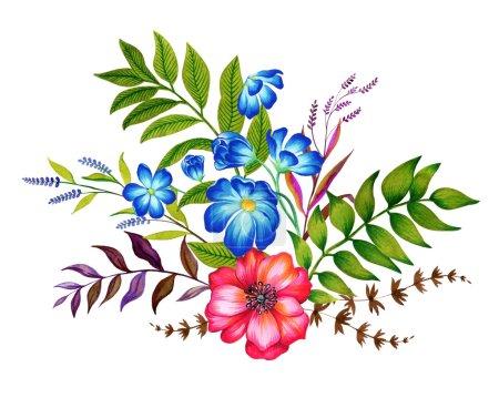 Photo pour Une belle illustration de bouquet de fleurs. Illustration botanique de style vintage d'un groupe de fleurs, isolées sur blanc. De nombreuses fleurs, herbes et feuilles dans une composition élégante. toutes les illustrations sont dessinées par moi . - image libre de droit