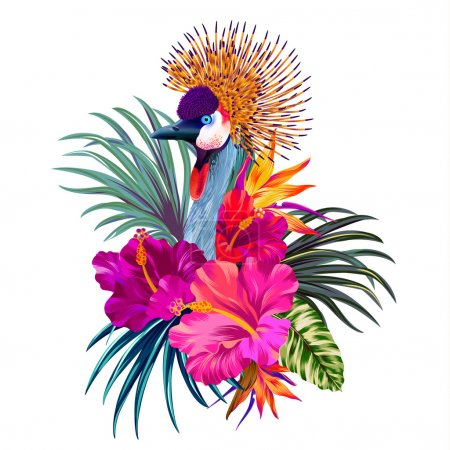Photo for Editable vector isolated illustration of crowned crane and tropical flowers, drawn on wacom. - Royalty Free Image