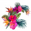 Vector bouquet with tropical flowers. Retro Hawaii...