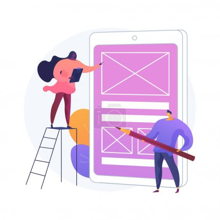 Prototyping abstract concept vector illustration. Design concept, user testing, UX, website draft version, interface idea, creative work, landing page, digital application abstract metaphor.