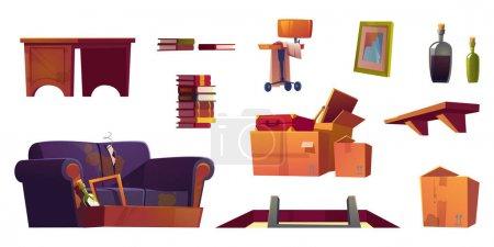 Vieux meubles stockés sur le grenier de la maison. Hatch avec échelle, étagère en bois, canapé avec rembourrage déchiré et boîtes en carton sale avec ferraille. Ensemble de dessin animé vectoriel avec chaise, pile de livres, table et cadre cassé