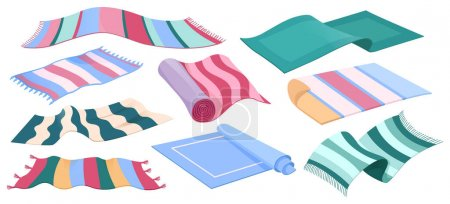 Illustration for Carpet collection, floor rugs with striped pattern and tassels. Vector cartoon set of cloth mats for home interior and picnic, rectangle cotton woven carpets isolated on white background - Royalty Free Image