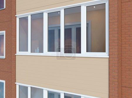 Photo pour The image of the loggia in the brick house - image libre de droit