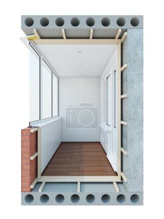 Photo pour L'image du balcon dans le contexte de - image libre de droit
