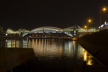 Steel arch pedestrian bridge over the Moscow river...