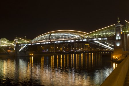 The Bogdan Khmelnitsky bridge at night, Moscow