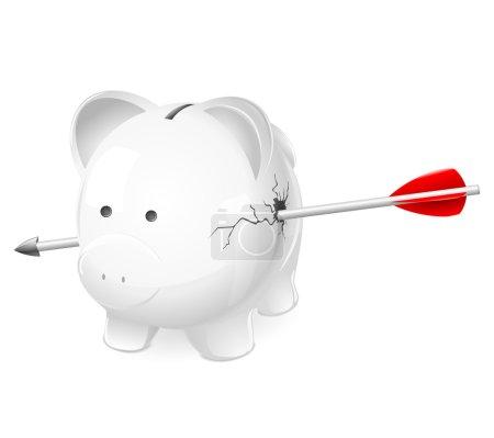Broken piggy bank shot by arrow