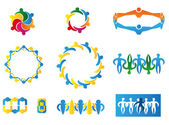 Icons geometric symbols representing union society Ideal for visual communication information and institutional material