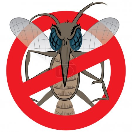 Nature, Mosquito stilt with prohibited sign, front. Ideal for informational and institutional related sanitation and care