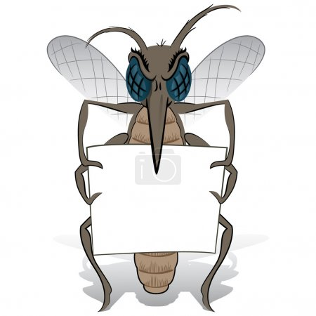 Mosquito stilt holding small poster. Ideal for informational and institutional related sanitation and care