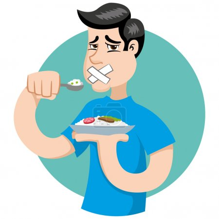 Illustration of a person with no appetite, fasting or making diet. Ideal for catalogs, informational and institutional material on nutrition