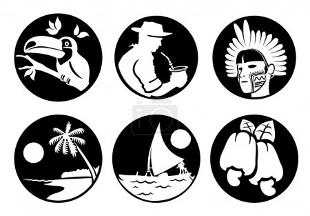 Icons and cultural symbols of Brazil customs fauna and flora, Brazilian tourism. Ideal for informational and institutional related tourism
