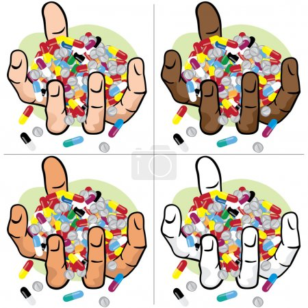Illustration hands holding many medicines, ethnic. Ideal for catalogs, informational and institutional material