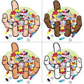 Illustration hands holding many medicines ethnic Ideal for catalogs informational and institutional material