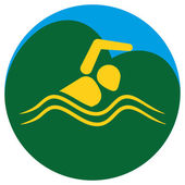 Illustration represents a pictogram practicing swimming various forms of sports and games Brazil Ideal for educational materials sports and institutional