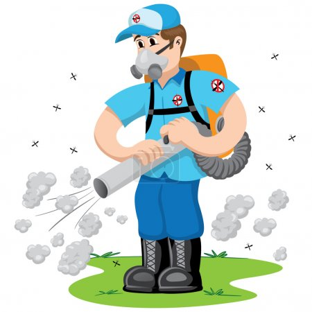 Person exterminator with smoke, Aedes Aegypti mosquitoes stilt. Ideal for informational and institutional related sanitation and care
