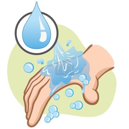Illustration pour Illustration d'une personne caucasienne se lavant les mains hygiène et propreté. Idéal pour le matériel éducatif et institutionnel - image libre de droit