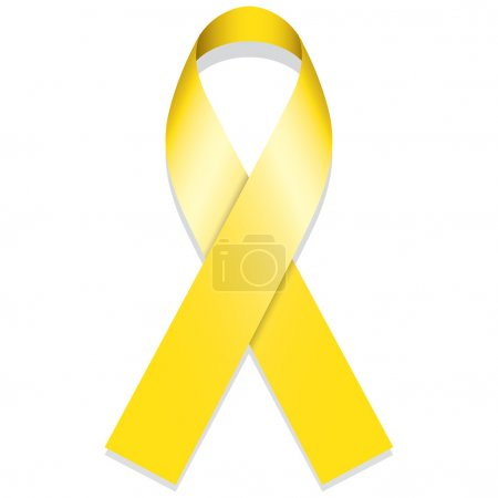 Icon symbol of struggle and awareness, yellow ribbon, golden. Ideal for educational materials and information