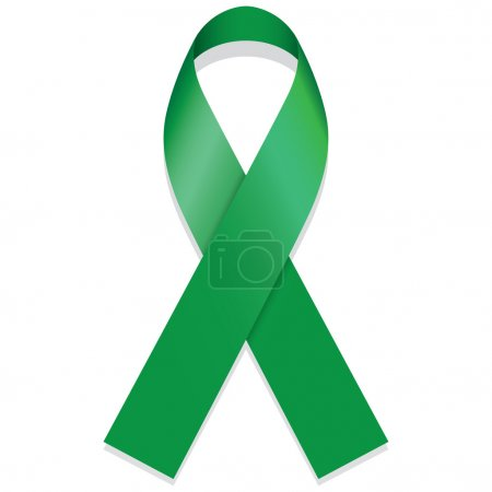 Icon symbol of struggle and awareness, green ribbon. Ideal for educational materials and information
