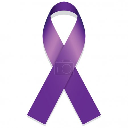 Icon symbol of struggle and awareness, purple ribbon. Ideal for educational materials and information