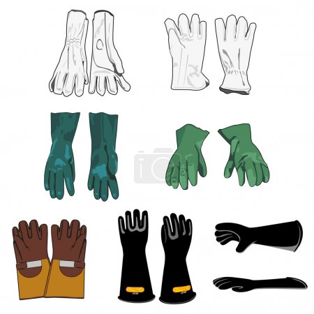 Illustration representing a safety harness models of protective gloves