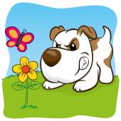 Illustration representing a pet dog barking angry for a butterfly on flower ideal for training materials catalogs and institutional veterinarian