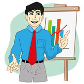 Person executive presenting chart on a flip chart in the office ideal for training materials catalogs and institutional
