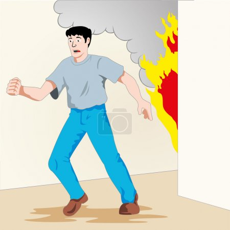 Illustration is safety, man running from a fire