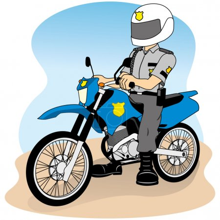 Illustration for Job security on a motorcycle, doing round or patrol, ideal for field training and institutional - Royalty Free Image