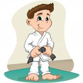 Illustration is a fighter child Character martial arts judo karate jujitso taekwondo Ideal for sports and institutional information