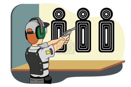 Illustration for Professional safety training shooting, ideal for training material and institutional - Royalty Free Image