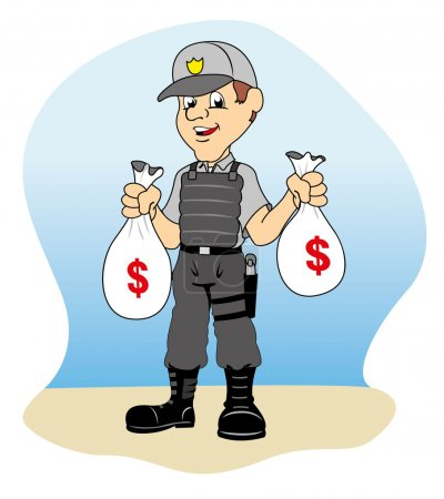 Illustration for Professional security holding money bags, ideal for training material and institutional - Royalty Free Image