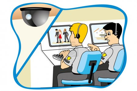 Illustration for Professional security watching through camera monitoring system, ideal for training material and institutional - Royalty Free Image