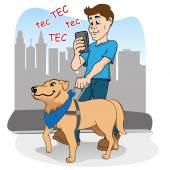 Person walking listlessly practically blinded by smartphone, and being guided by the blind dog as a visually impaired