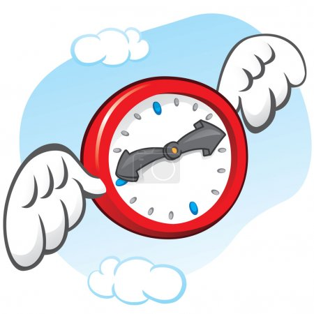 Illustration is the saying that time flies, represented by a clock with wings. Can be used in ads and institutional
