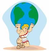 Obrázek je mytologie, Titan Atlas svět na zádech. Ideální pro koncepci řecké kultury a váha